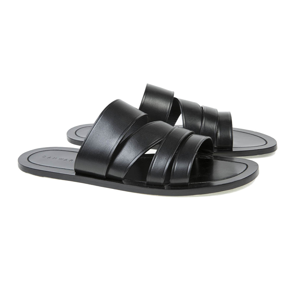 LEATHER MULTI-STRAPPED SANDAL WITH HALF RUBBER SOLE