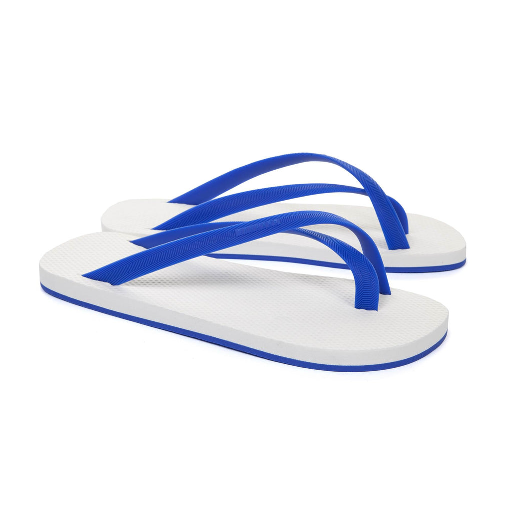 BICOLORED CROSS TOE FLIP-FLOP, WHITE WITH BLUE