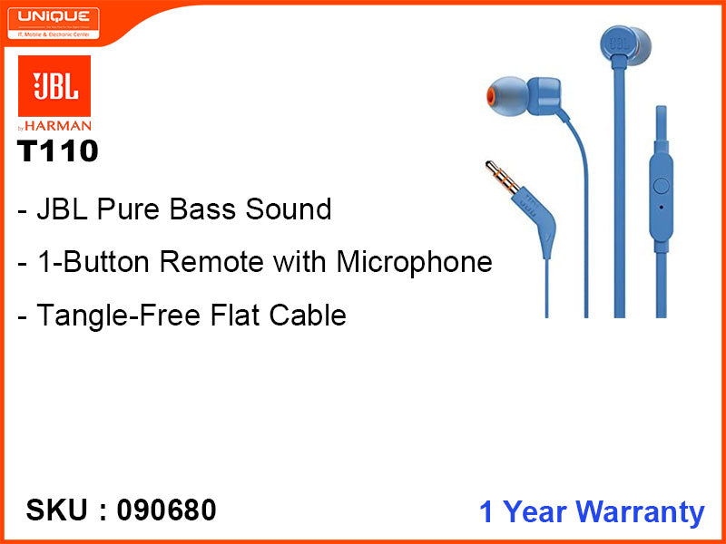 JBL T110 Blue Earphone