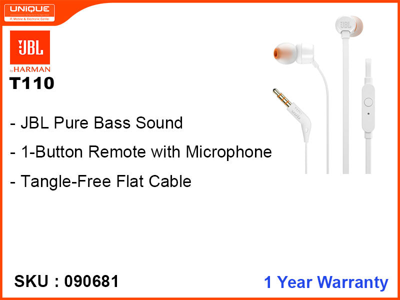 JBL T110 White Earphone