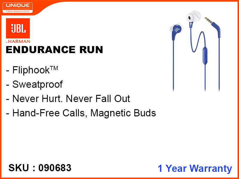 JBL ENDURANCE RUN Blue Earphone