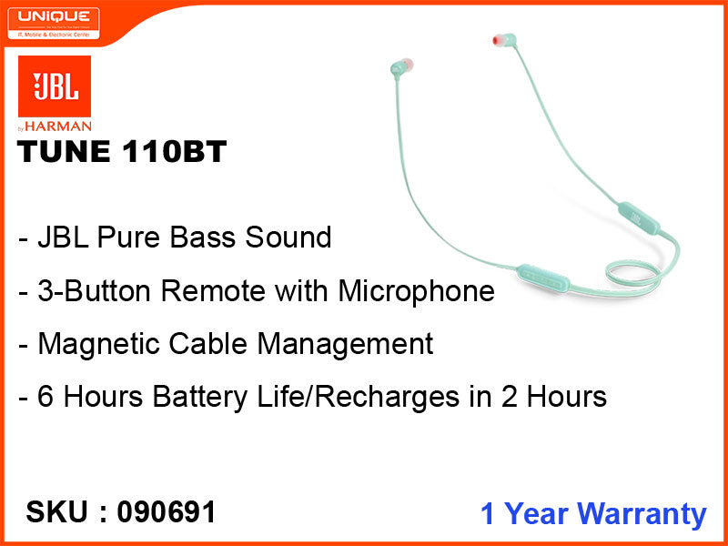 JBL T110BT Green Wireless Earphone