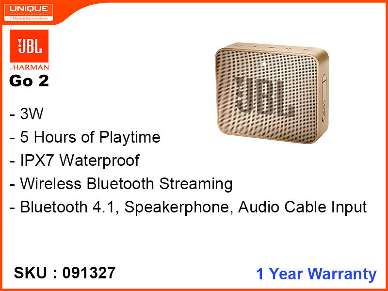 JBL Go2 Gold Bluetooth Speaker