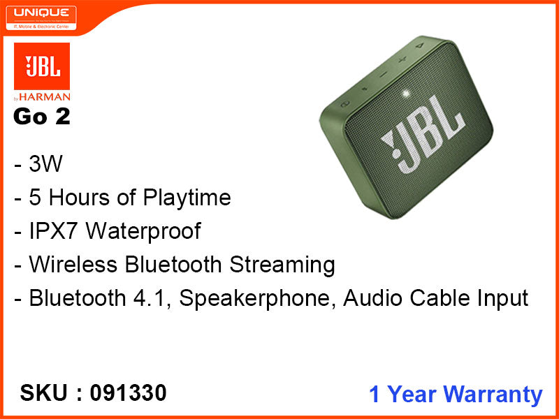 JBL GO2 Green Bluetooth Speaker
