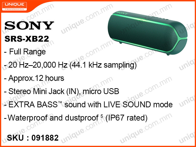 SONY SRS-XB22 Extra Bass Bluetooth Speaker