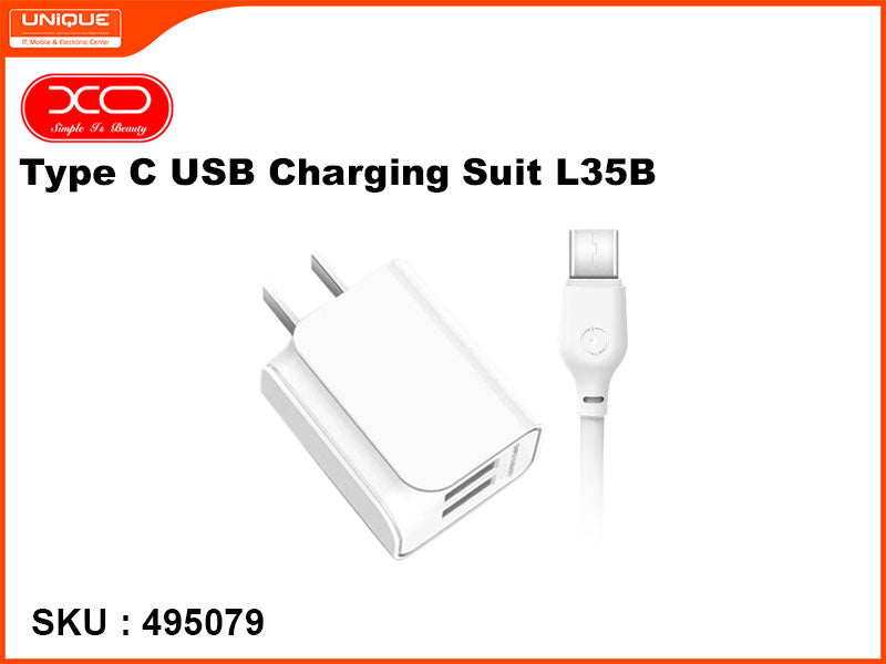 XO Type C USB Charging Suit, White, L35B