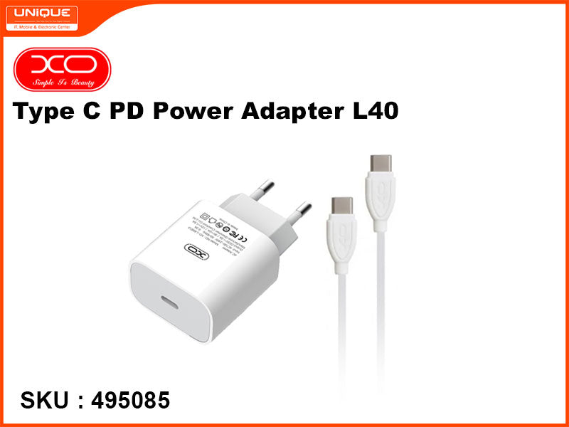 XO Type C PD Power Adapter, White, L40