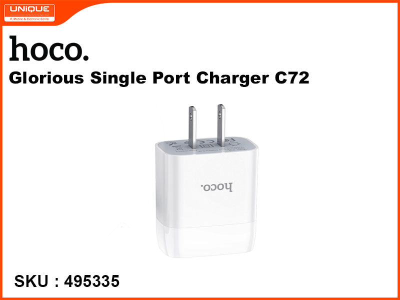 hoco C72 White Glorious Single Port Charger