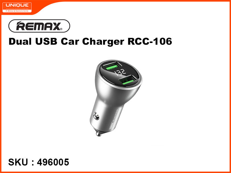 Remax RCC-106 Silver Dual USB Car Charger