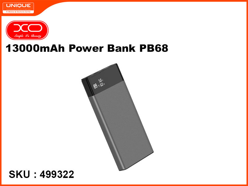 XO 13000mAh Power Bank, Black, PB68