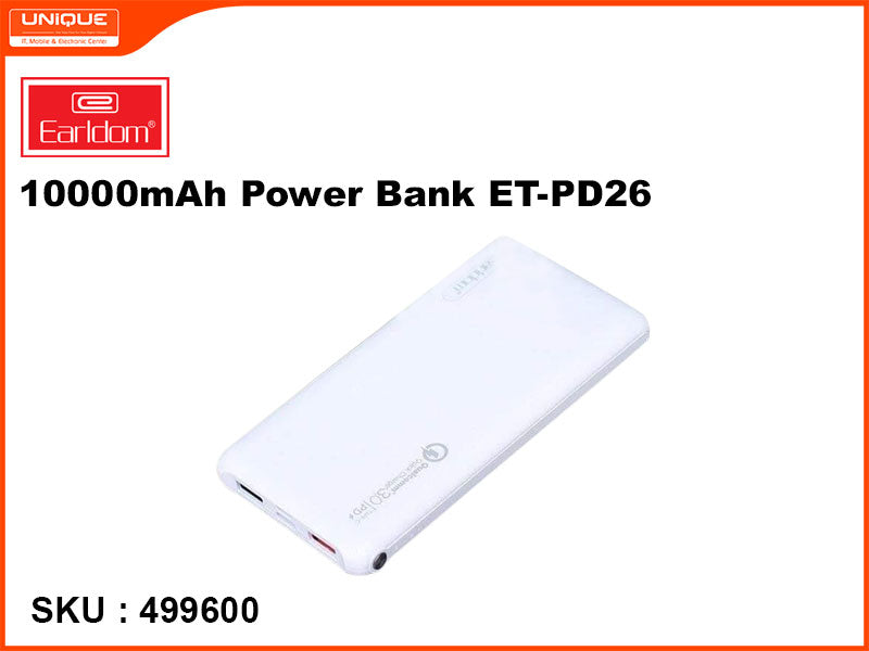 Earldom ET-PD26 White 10000mAh Power Bank