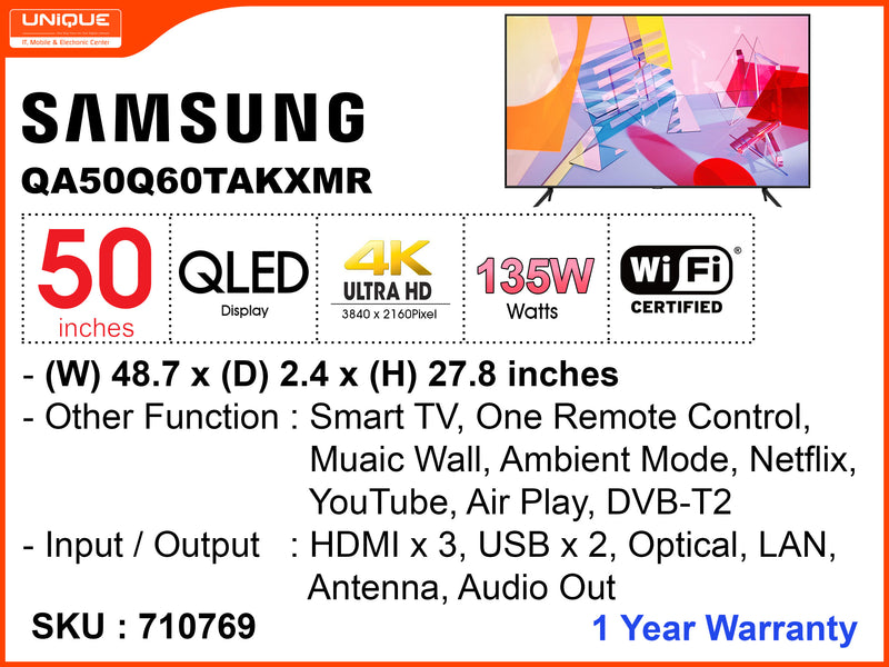 "SAMSUNG 50"" QLED 4K Smart TV QA50Q60TAKXMR"