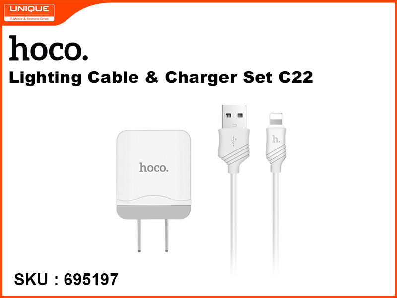 hoco C22 White Lighting Cable & Charger Set