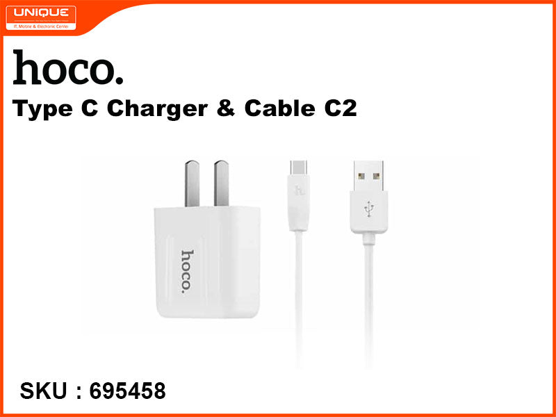 hoco C2 White Type-C Charger and Cable