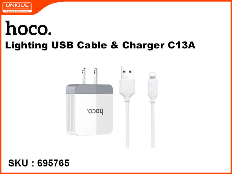 hoco C13A Lighting USB Cable &Charger