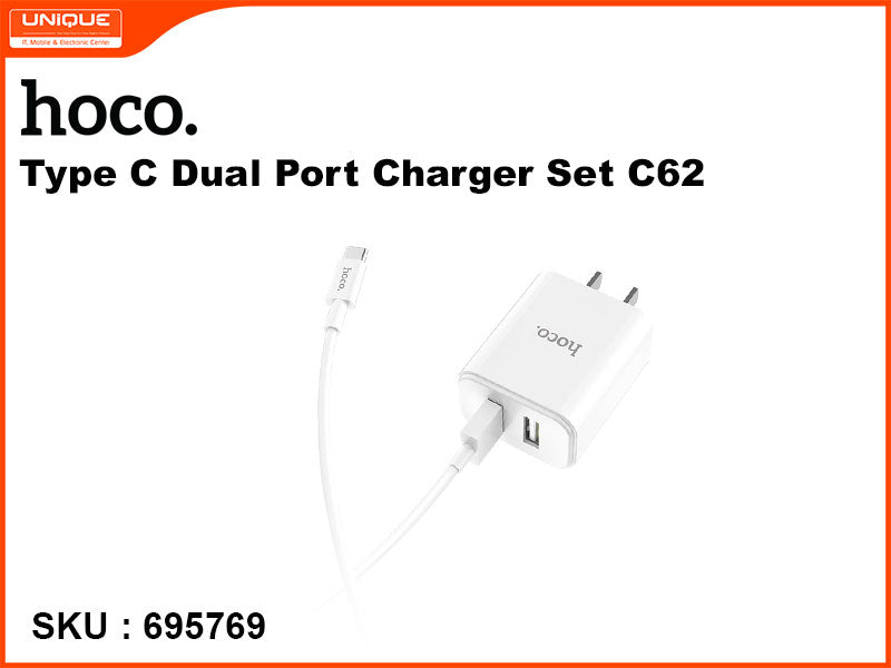 hoco C62 White Type C Dual Port Charger Set