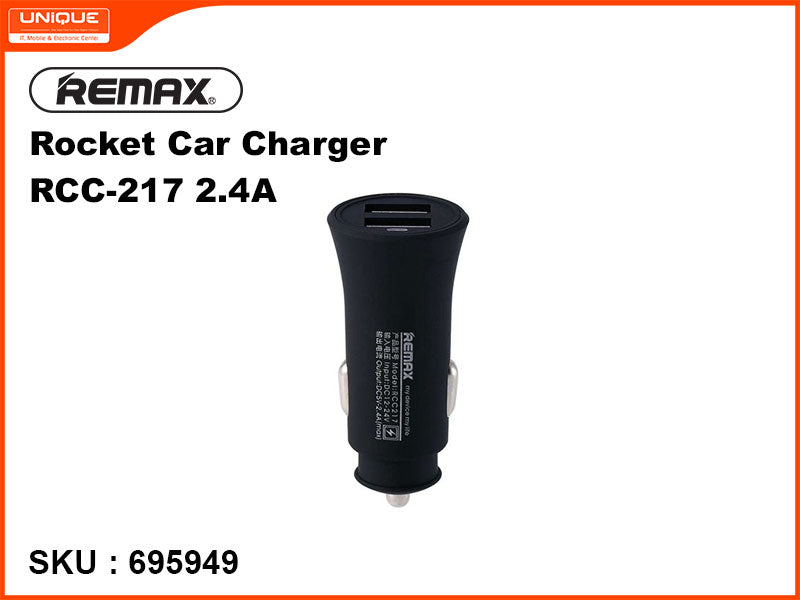 Remax RCC-217 2.4A Black Rocket Car Charger