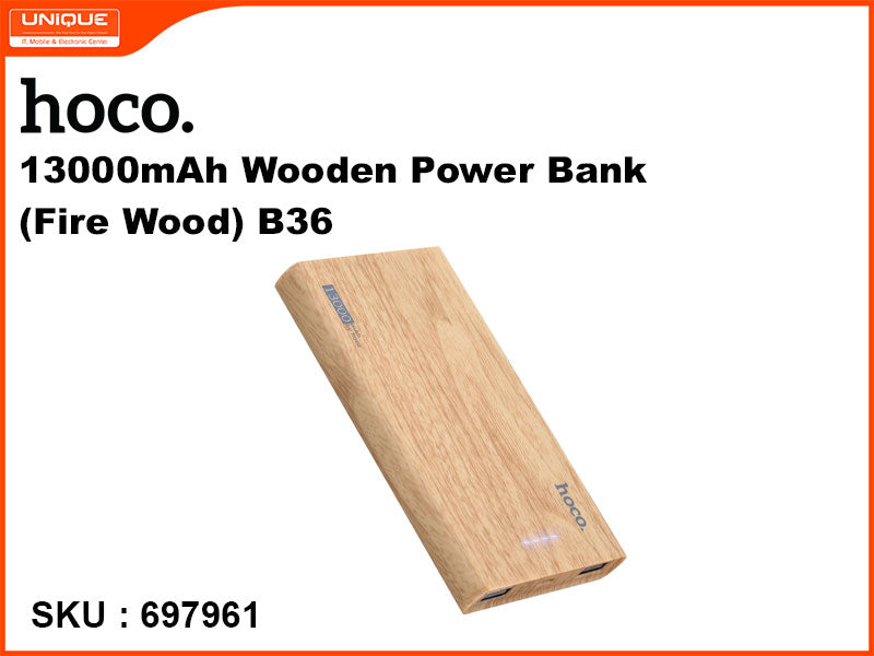 hoco B36 13000mAh Wooden Power Bank(Fire Wood)