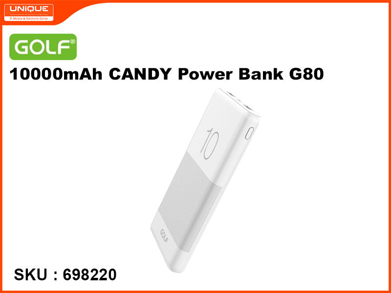 GOLF G80 White 10000mAh CANDY Power Bank