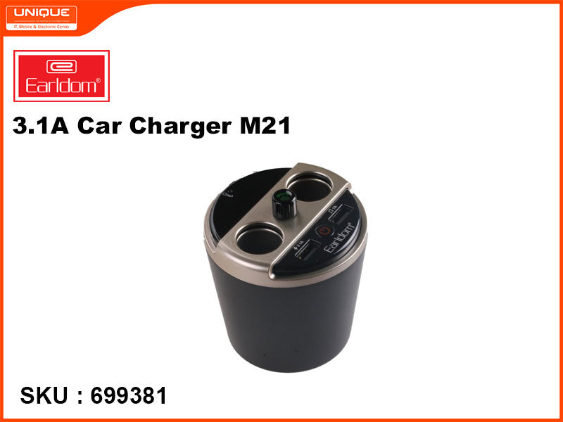 Earldom M21 Black 3.1A Car Charger