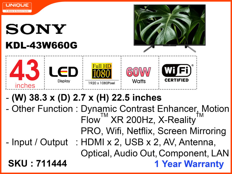 SONY 43' LED FHD Smart TV KDL43W660G