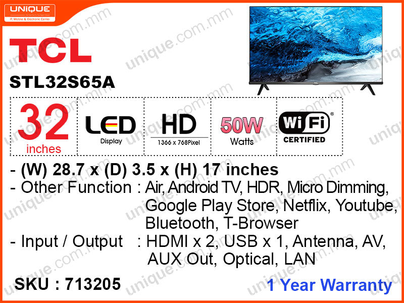 "TCL 32"" LED HD Android TV 32S65A"
