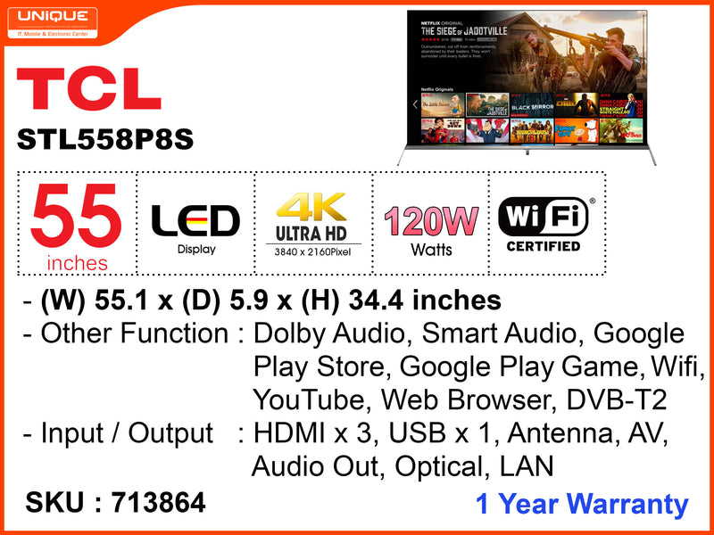 TCL 55'' LED UHD Andriod TV STL558P8S