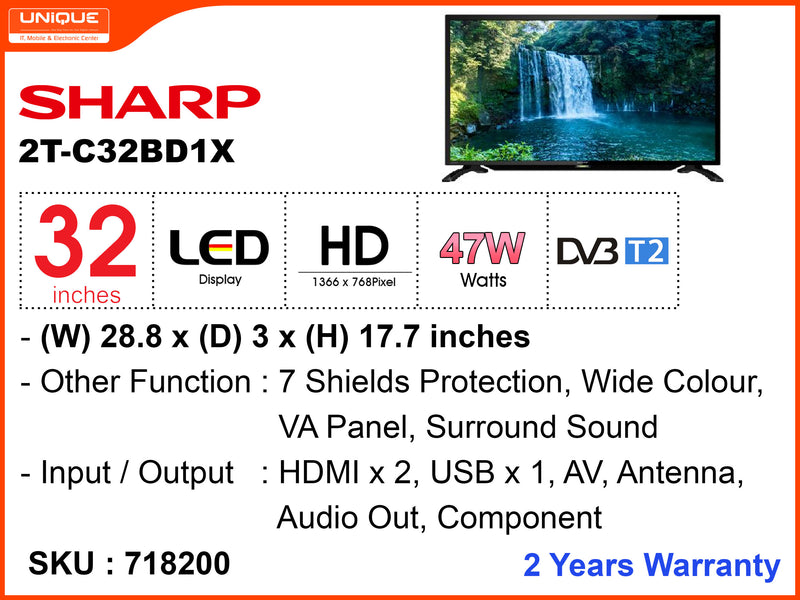 "SHARP 32"" LED HD TV 2T-C32BD1X"