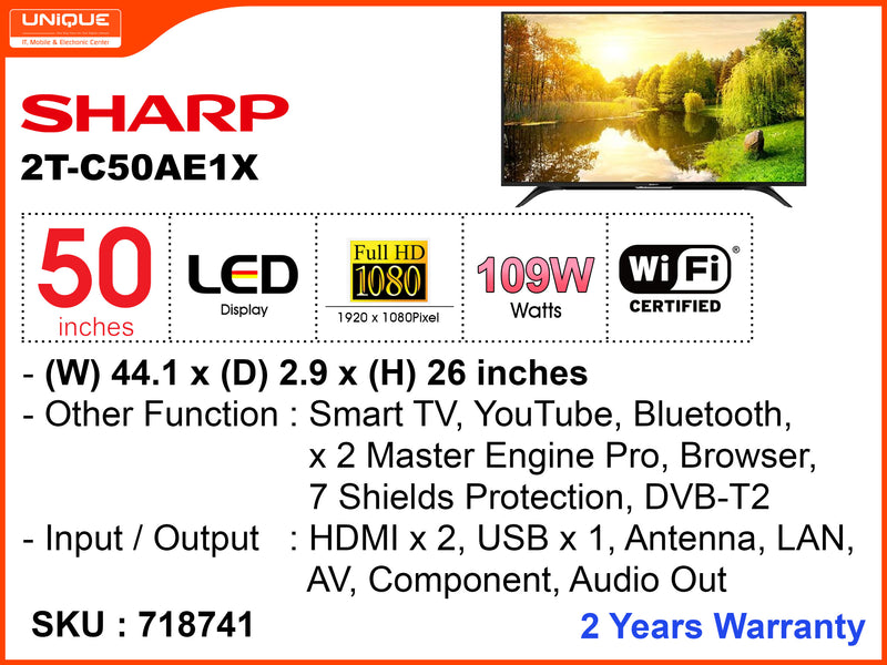 "SHARP 50"" LED FHD Smart TV 2T-C50AE1X"