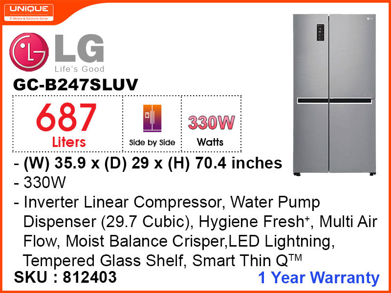 LG Inverter Refrigerator, Side By Side, GC-B247SLUV