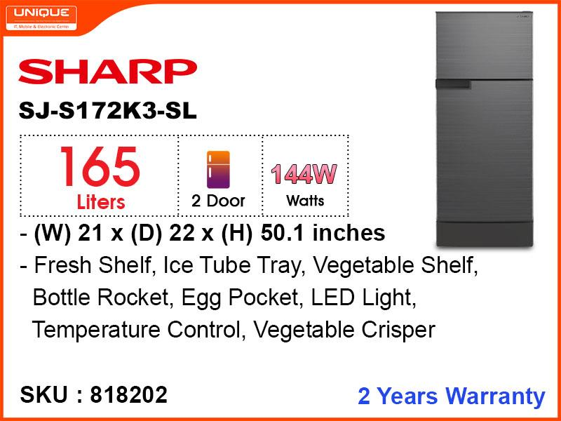 SHARP Refrigerator SJ-S172K3-SL 2Door,165L