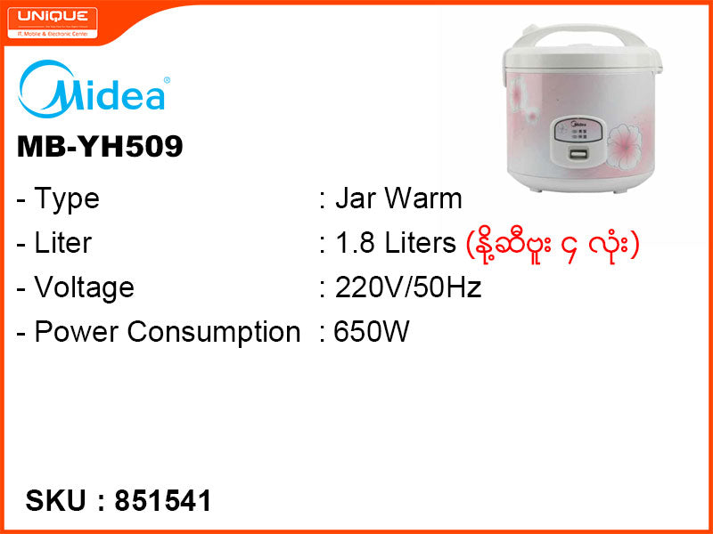 Midea Jar Warm,Non Stick coating Rice Cooker,MB-YH509 1.8L