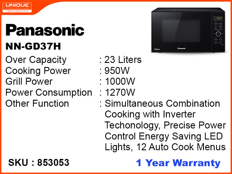Panasonic EP2 NN-GD37H 23L, 1000W, Inverter Grill Microwave