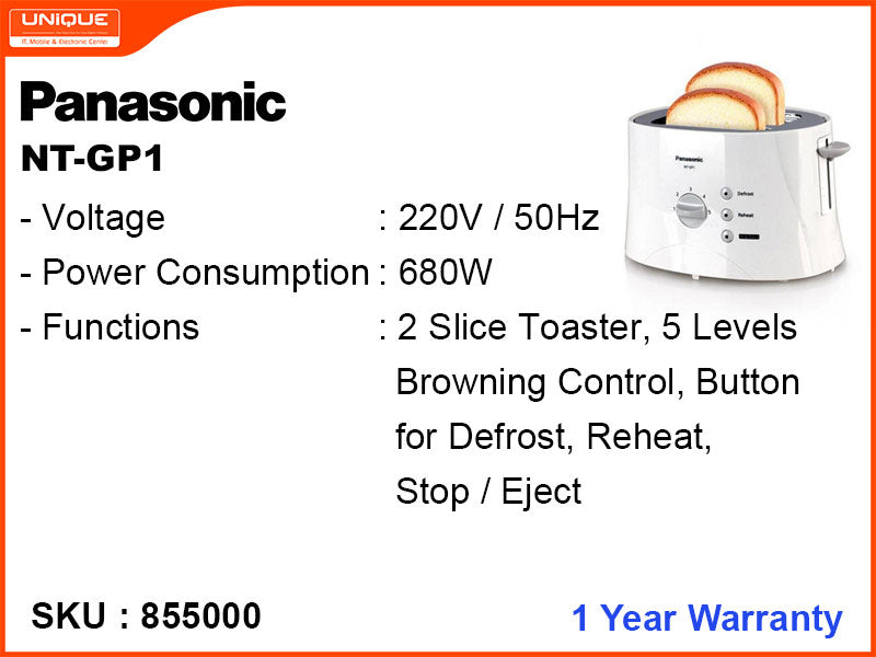 Panasonic NT-GP1 2 Wide Slot ,680W Pop Up Toaster