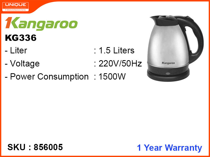 Kangaroo Electric Kettle, 1.5L, 1500W, KG336
