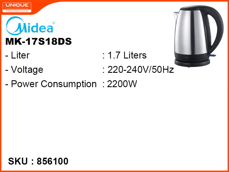 Midea Electric Kettle, 1.7L, 2200W, MK-17S18DS