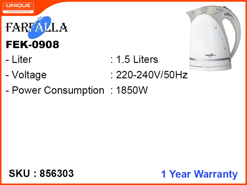 FARFALLA Electric Kettle, 1.5L, 1850W, FEK-0908