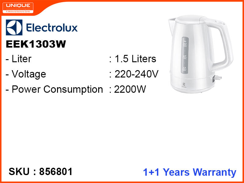 Electrolux Electric Kettle, 1.5L, 2200W, EEK1303W