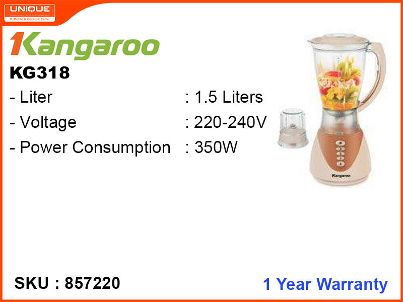 Kangaroo KG318 1.5L,2 in 1,350W Blender