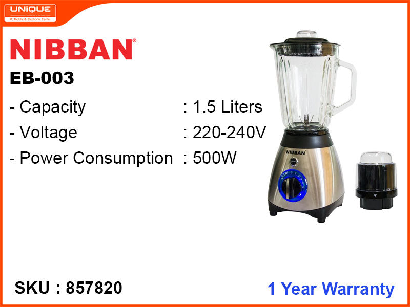 NIBBAN EB-003 1.5L, 2 in 1, 500W Blender