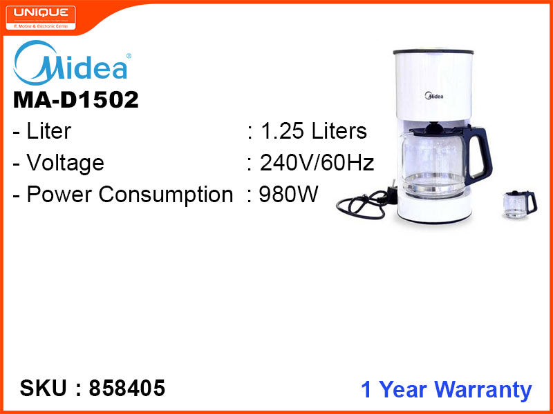 Midea MA-D1502 1.25L 980W Coffee Maker
