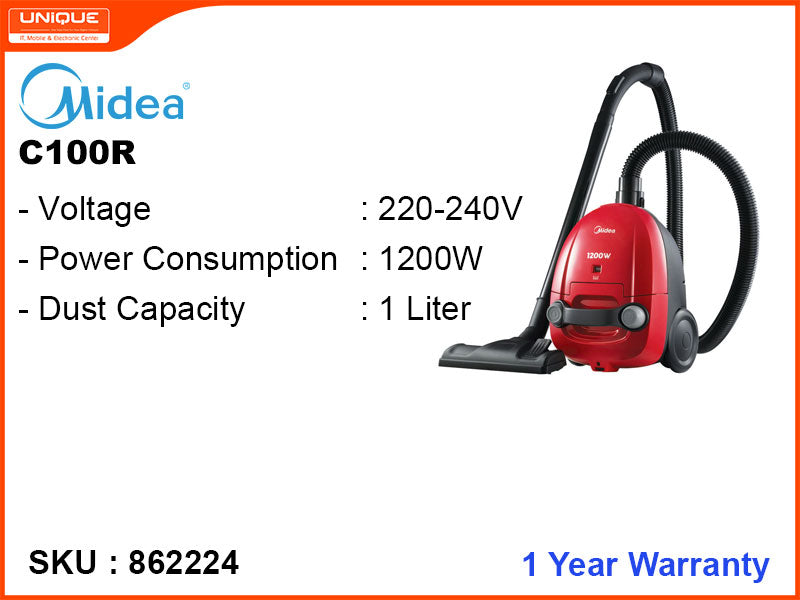 Midea C100R 1200W Vaccum Cleaner (Red)