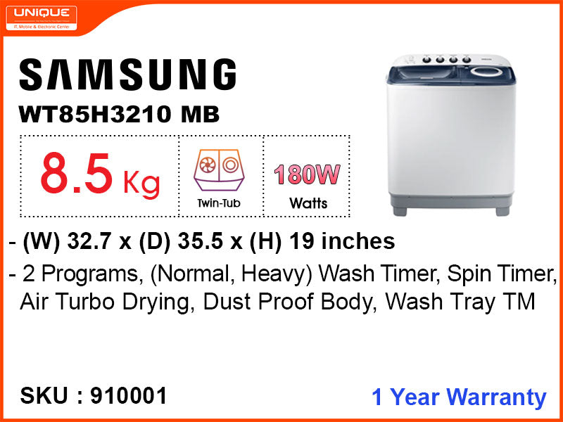 SAMSUNG Washing Machine, WT85H3210MB Semi Auto, 8.5 kg
