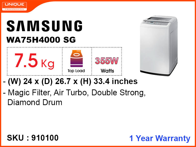 SAMSUNG Washing  Machine, WA75H4000SG/FQ, Fully Auto, 7.5 kg