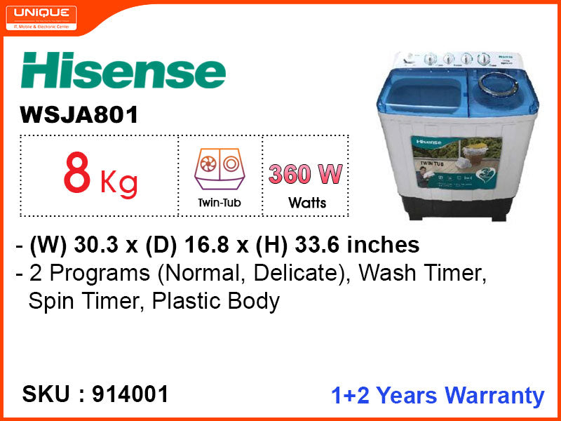 Hisense  Washing Machine WSJA801 Semi Auto, 8kg