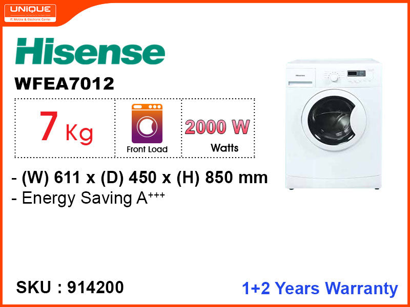 Hisense Washing Machne WEFEA 7012 Fully Auto Front Load, 7kg