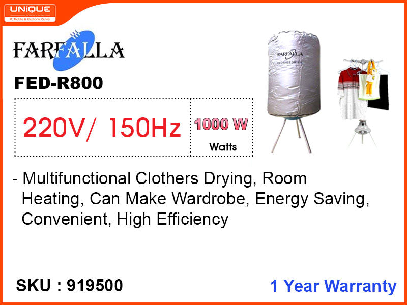 FARFALLA Clothes Dryer, FED-R800, 1000W