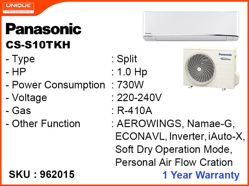 Panasonic CS-S10TKH Split ,1HP, Inverter Air Conditioner