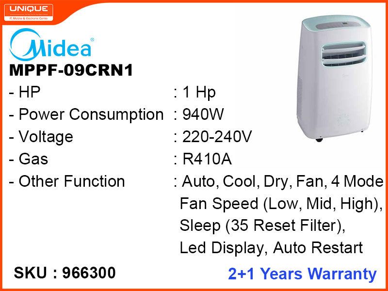 Midea Portable Air Conditioner, 1HP, MPPF-09CRN1