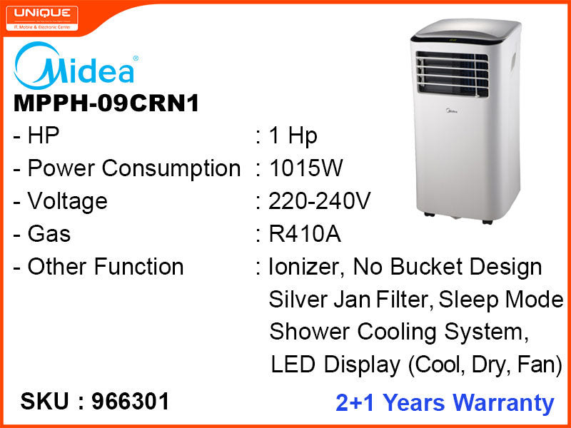 Midea MPPH-09CRN1, 1HP, Portable Air Conditioner